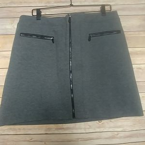 WHBM Gray Zip up A-line Skirt 2 front pockets